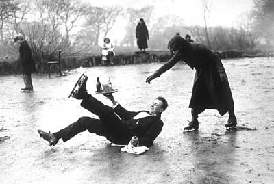 Couple Photograph - Skating Waiter by E. Dean