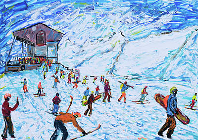 Painting - Ski Poster Of Zermatt by Pete Caswell