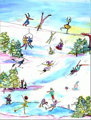 Sports Paintings - Ski Slopes 1 by Patty Donoghue
