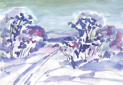 Painting - Ski Track In The Morning Forest by Irina Dobrotsvet