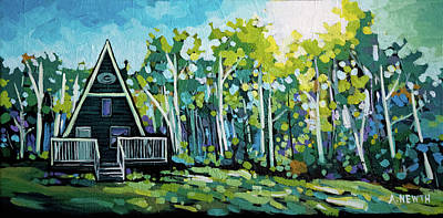 Wall Art - Painting - Skidoo Chalet by Alison Newth