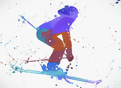 Colorado Ski Painting - Skier Color Rush by Dan Sproul