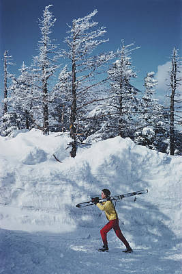 Skier In Vermont Art Print by Slim Aarons