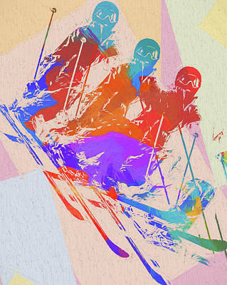Colorado Ski Art Wall Art - Painting - Skier Pop Art by Dan Sproul