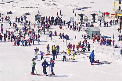 Photograph - Skiers At Perisher Valley Ski Resort by Warwick Kent