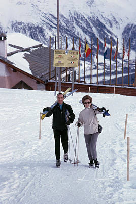 Ski Resort Photograph - Skiers At St. Moritz by Slim Aarons