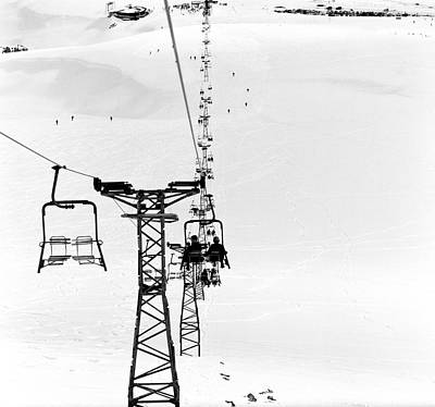 Skiing Photograph - Skiers On Ski Lifts, Farellones by Hans Neleman