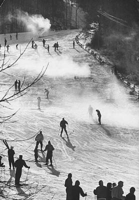 Vermont Photograph - Skiers Skiing On Artificial Snow.  Phot by George Silk