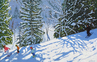 Painting - Skiing Courchevel To La Tania by Andrew Macara