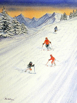 Colorado Ski Painting - Skiing Family On The Slopes by Bill Holkham
