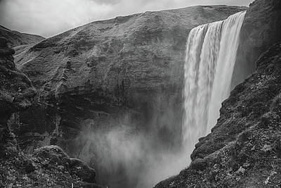 Photograph - Skogafoss Iceland Black And White by Nathan Bush