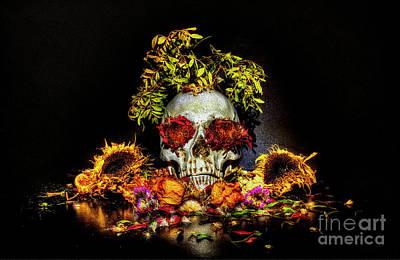 Digital Art - Skull Bouquet by Nigel Bangert