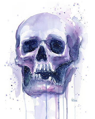 Skull Painting - Skull In Space by Olga Shvartsur