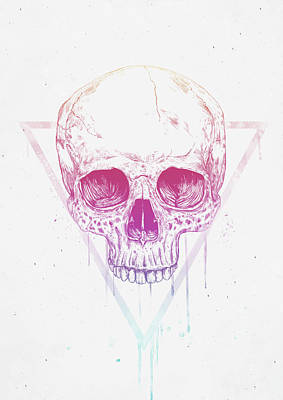 Drawing Mixed Media - Skull In Triangle by Balazs Solti