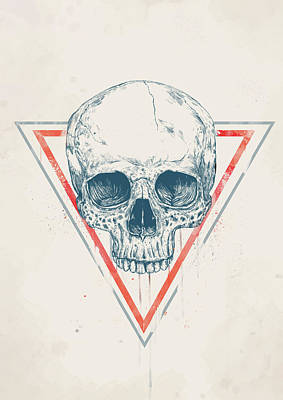 Ink Drawing Drawing - Skull In Triangles by Balazs Solti