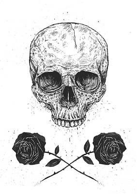 Ink Drawing Drawing - Skull N' Roses by Balazs Solti