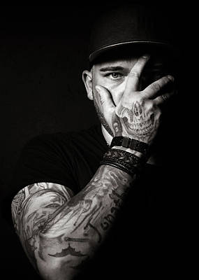 Hands Wall Art - Photograph - Skull Tattoo On Hand Covering Face by Johan Swanepoel