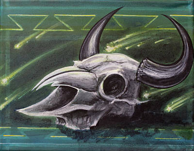 Painting - Skull With Comet by Danny Frost