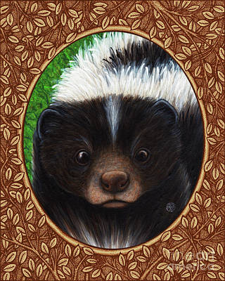 Painting - Skunk Portrait - Brown Border by Amy E Fraser