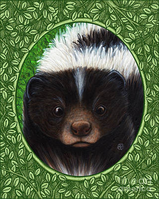 Painting - Skunk Portrait - Green Border by Amy E Fraser
