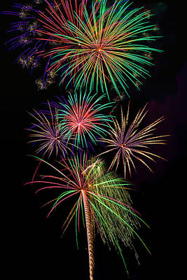 Photograph - Sky Full Of Exploding Fireworks by Garry Gay