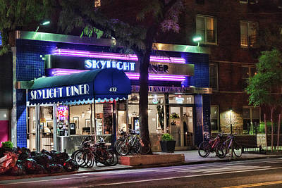 Photograph - Skylight Diner After Dark 2 by Sharon Popek