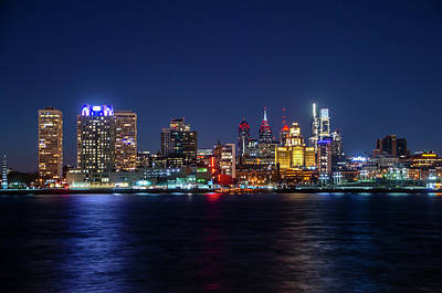 Photograph - Skyline At Night - Philadelphia Cityscape by Bill Cannon