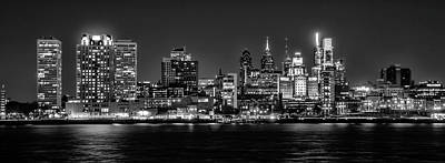 Photograph - Skyline At Night - Philadelphia Cityscape Panorama In Black And  by Bill Cannon