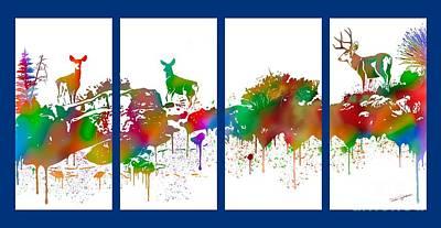 Painting - Skyline Deer Habitat 4pc Panel by Dale E Jackson