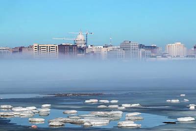 Skyline Of Madison Wisconsin And Winter Mist. Original