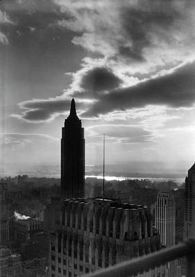 Photograph - Skyline Of Manhattan At Dusk W. Empire by Margaret Bourke-white