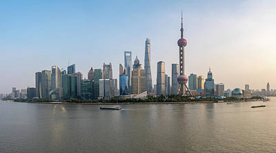 Photograph - Skyline Of The City Of Shanghai At Sunset by Steven Heap