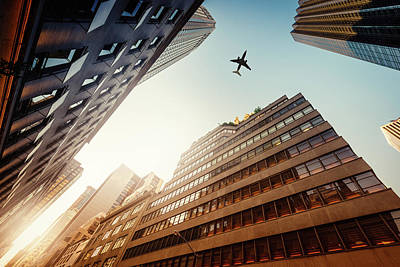 Photograph - Skyscraper With A Airplane Silhouette by Ppampicture
