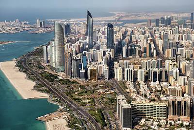 Skyscrapers And Coastline In Abu Dhabi Art Print by Extreme-photographer