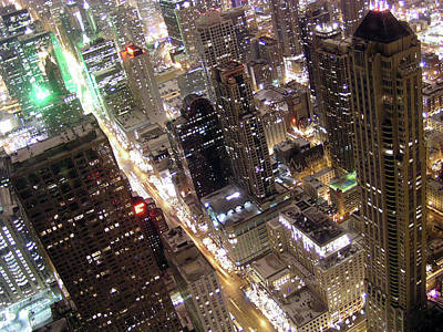 Ken Ilio Photograph - Skyscrapers Illuminated At Night by By Ken Ilio