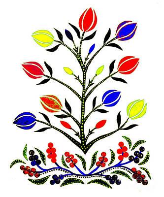 Painting - Slavic Flower #4 by Anthony Mrugacz