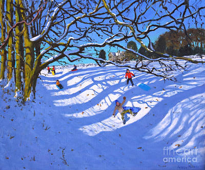 Painting - Sledging Down The Gully, Dam Lane, Ashbourne by Andrew Macara