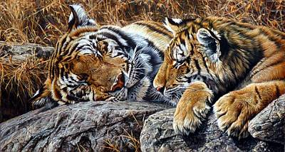Painting - Sleepers - Tiger And Cub by Alan M Hunt