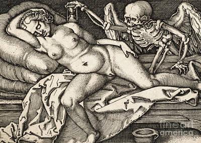 Drawing - Sleeping Girl And Death, 1548 by Hans Sebald Beham