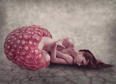 Surrealism Digital Art - Sleeping raspberry by Mihaela Pater