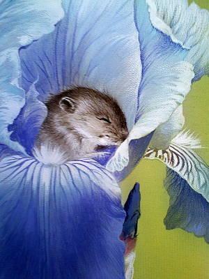Painting - Sleepy Baby Mouse In Iris by Alina Oseeva