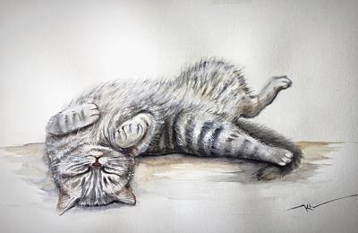 Painting - Sleepy Cat by Katerina Kovatcheva