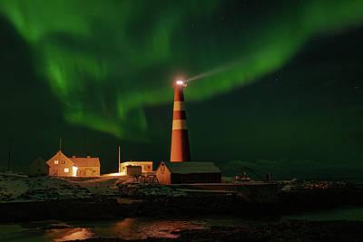 Photograph - Slettnes Lighthouse Under Aurora by Arctic FineArt