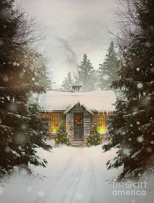 Photograph - Small Cabin In A Snow Covered Forest by Sandra Cunningham