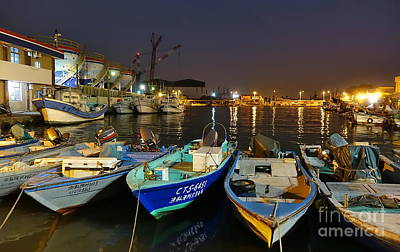Photograph - Small Fishing Harbor By Night In Taiwan by Yali Shi