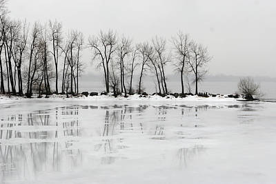 Photograph - Small Peninsula On A Frozen Lake In by Buzbuzzer