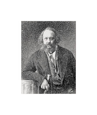 Kitchen Food And Drink Signs - Small portrait of Bakunin by Joaquin Abella