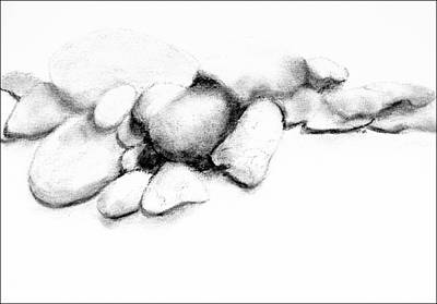 Drawing - Small Stones  - B-w by VIVA Anderson