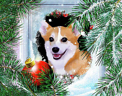 Digital Art - Smiling Corgi In Winter Window by Kathy Kelly