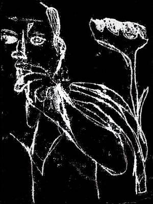 Digital Art - Smoker And Sunflower White On Black 1 by Artist Dot